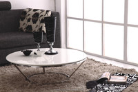 CT06 Basic designs artificial marble top coffee table with stainless steel frame.