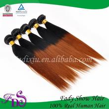 6A Two Tone Human Hair Weft Straight Brazilian Ombre Hair Extension
