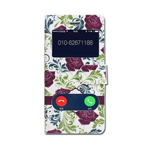 Double window Flower PU leather flip case for iphone 6,mobile phone case