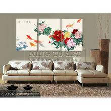 Handmade Modern Group rose Oil painting,fengshui art koi fish