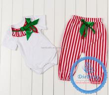 2015 new designs Christmas baby girls romper pant set newborn Christmas clothing romper set