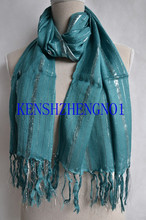 Pashmina fashion women style viscose color knit soft hand feeling long scarf with tassles