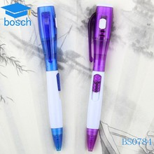 Plastic cheap ballpoint pen,invisible ink pen with uv light,promotional pen with led light