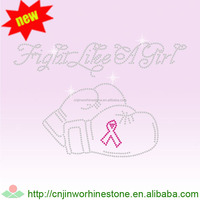 Custom Pink Ribbon Rhinestone Transfer Iron on Tshirts pink (17)