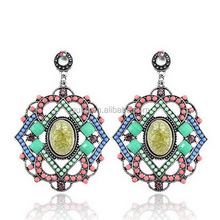 Women Party Boho Style Colorful Fashion Geometric Alloy Beaded Earrings