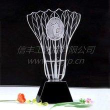 2d engraved tennis ,badminton shaped crystal trophy