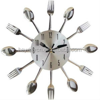 Silver Color Kitchen Knife and Fork Wall Clock (HD-678)