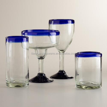 Classic Handcrafted Heavy Thick Clear Glass With Cobalt Blue Rim Drinking Glass Sets