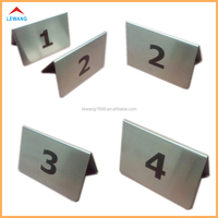Restaurant Stainless Steel Number Sign Label Digital Table Desktop Stand Plate