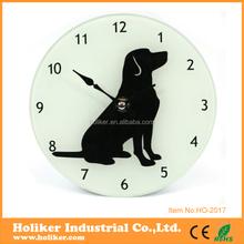 lovely dog design glass wall clock for decor