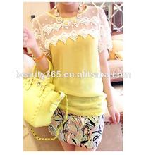 De las mujeres de la marca de moda de la nueva manga corta de encaje de gasa blusa blusa remiendo de la manera del verano
