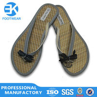 EK Promotional 2014 Wholesale Durable Women Bamboo Sandals Slippers Shoes