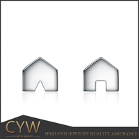 Unisex simple house shaped stud earrings from yiwu