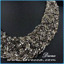 Latest small MOQ nice design delicate nylon tassel bead necklace