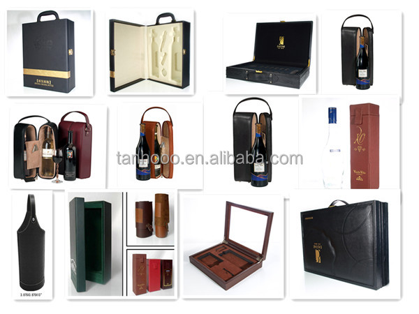 China wholesale luxury foldable black leather wine carrier for doulbe wine bottle