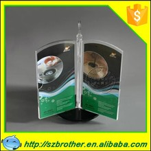 Free Standing Rotatable 3 Sides A5 Size Clear Acrylic Sign or Menu Holder With Aluminum Base, Double-Side, Bottom Insert-Clear