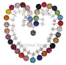 Stud Earring 12mm Crystal Ball Shamballa Earrings