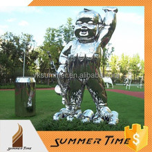 stainless steel polished child sculpture for garden decoration