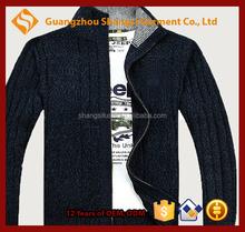 guangzhou men high neck long sleeve zip-up thick cardigan sweater