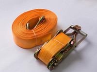 1'' x 10m polyester ratchet cargo lashing Strap with double J hook for cargo lashing