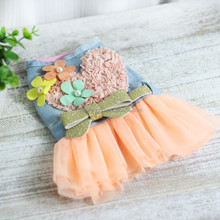 High quality dogs summer dressing ,jeans with flowers summer dressing style ,have large stock with fast delivery