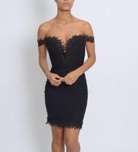 Custom design new off shoulder club dress black lace sexy dress party dress