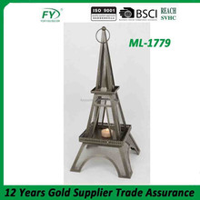 Elegant metal candlestick with tower design home decoration ML-1778