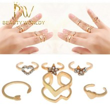 Gold plated Fashion midi ring set for women