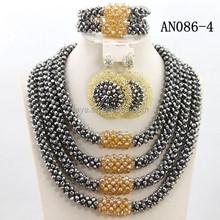 big fashion jewelry set 4 layers woven beads jewelry set