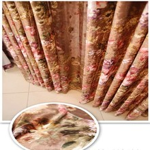 Gold Supplier Hot Selling Soft Heavy Flocking Polyester Curtain