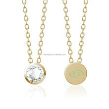 Gold stainless steel birthstone necklace zodiac necklace jewelry(MJN-0268)