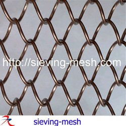 red coated metal wire mesh curtain / 5mm aluminum chain link curtain / diamond hole metal mesh curtain