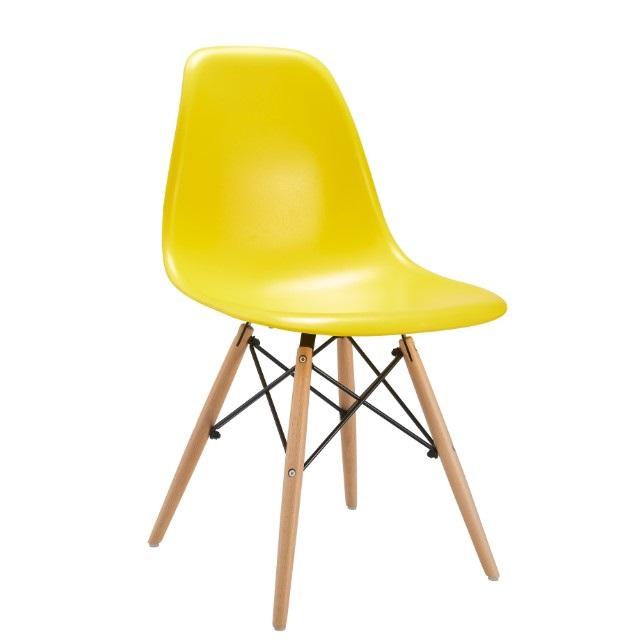 Clásico de plástico Silla de comedor de madera de la pierna de la cáscara de plástico de lujo silla