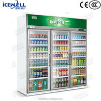 Guangdong manufacture 1.6m display counter upright 3 door commercial refrigerator