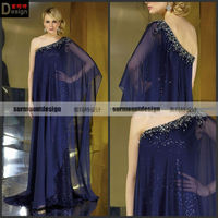 CH1998 Surmount Design One Shoulder Floor Length Flowy Chiffon Maxi Dresses