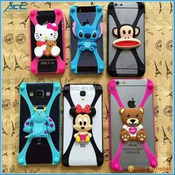 2015 fashionable universal cartoon silicone bumper case for mobile phone , carttoon silicone case for cell phone