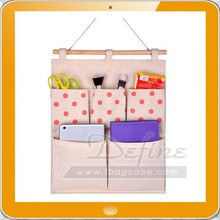Home Organizer Gift Linen Cotton Fabric Wall Door Hanging pocket Storage Bag