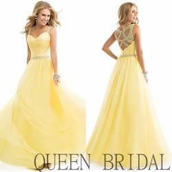 2015 QUEEN BRIDAL Fashion Alibaba Long Beaded Chiffon Yellow Evening Dress