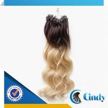 100% cheap virgin remy human brazilian micro bead loop ombre hair extensions
