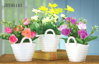 3pcs/set basket design ceramic white flower pot