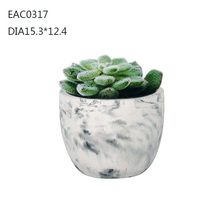 2016 hot sale artificial flower concret plant pots with marble effect on surface for factory wholesale