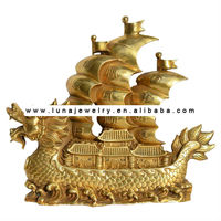 Bronze Feng shui sailing boat ,wealth ship , decorative sailing boat