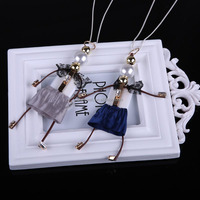 N1447 Free shipping Christmas Present Thin Long chain women jewelry with pearl bead Double little girl dolls pendant necklace