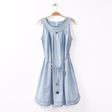 The Korean style of slim fit denim sleeveless dress with Tie back hollow out bow sundress dresses