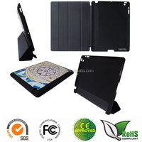 4 -folder stand flip leather case with heat printing Aluminum sticker for ipad 2/3/4/5