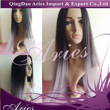"""20"""" / 28"""" Long straight black to grey ombre Lace Front Synthetic Hair Wig"""