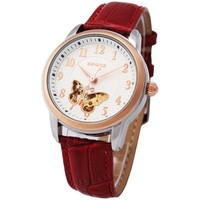 Newest High Ends Ladies Genuine Leather Band Mechanic Watch