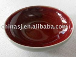 crackled red glazed pottery plate RYGZ09