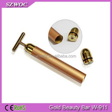 Handheld T Shape Solar Energy Face Massager Golden Bar