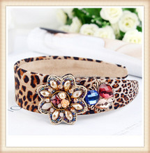 2015 fashion leopard fabric colorful seed bead crystal pearl flower crown headband